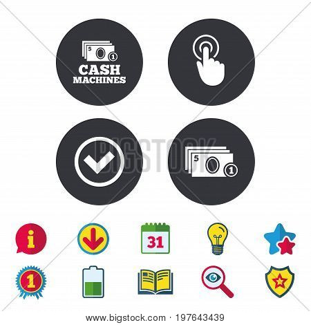 ATM cash machine withdrawal icons. Click here, check PIN number, processing and cash withdrawal symbols. Calendar, Information and Download signs. Stars, Award and Book icons. Vector
