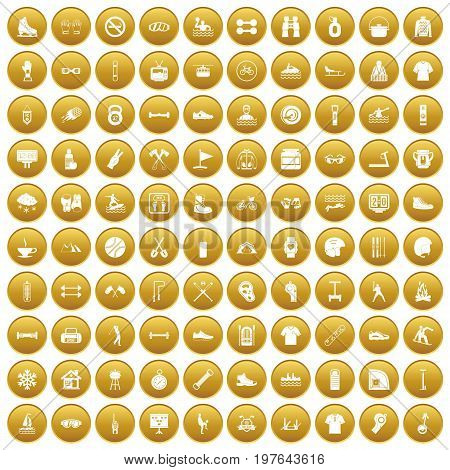 100 sport life icons set in gold circle isolated on white vectr illustration