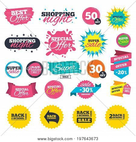 Sale shopping banners. Back to school sale icons. Studies after the holidays signs. Pencil symbol. Web badges, splash and stickers. Best offer. Vector