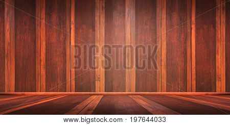 Room with a wooden floor and walls.Wooden wall and floor.
