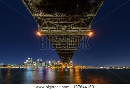 Sydney Harbour Bridged viewed from Milsons Point in North Sydney Australia. Sydney Harbour is a beautiful meandering waterway famous around the world.