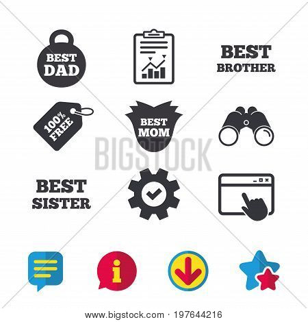 Best mom and dad, brother and sister icons. Weight and flower signs. Award symbols. Browser window, Report and Service signs. Binoculars, Information and Download icons. Stars and Chat. Vector