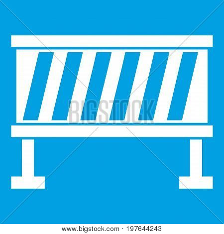 Traffic barrier icon white isolated on blue background vector illustration