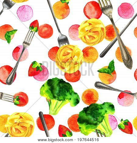 A seamless pattern of watercolour vegan food themed drawings. Leaves of mint, strawberry, broccoli sprouts, and pappardelle pasta nests, hand painted on an abstract pink dots background