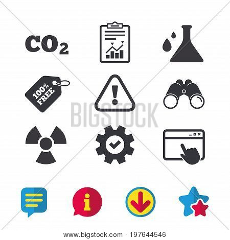 Attention and radiation icons. Chemistry flask sign. CO2 carbon dioxide symbol. Browser window, Report and Service signs. Binoculars, Information and Download icons. Stars and Chat. Vector