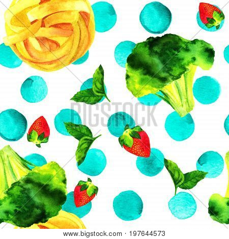 A seamless pattern of watercolour vegan food themed drawings. Leaves of mint, strawberry, broccoli florets, and pappardelle pasta nests, hand painted on a white background with teal blue dots