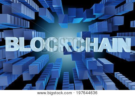 Concept of blockchain in modern business - 3d rendering
