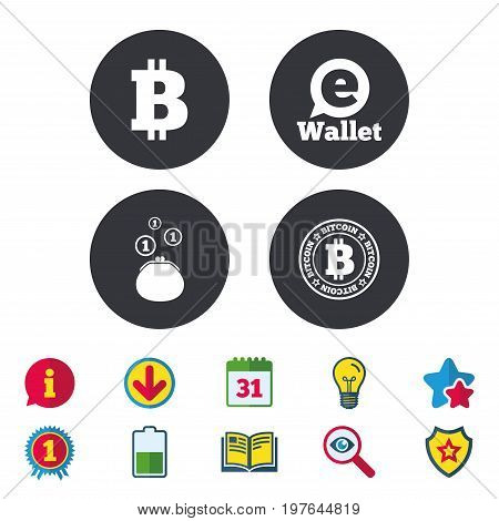Bitcoin icons. Electronic wallet sign. Cash money symbol. Calendar, Information and Download signs. Stars, Award and Book icons. Light bulb, Shield and Search. Vector