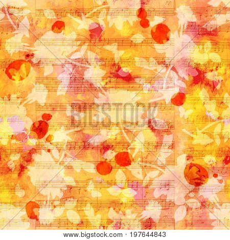 Seamless background pattern with red, yellow, and orange painterly brush strokes and silhouettes of butterflies and roses. An abstract vintage style repeat print with organic motifs and sheet music