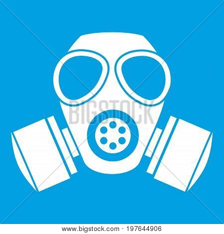 Chemical gas mask icon white isolated on blue background vector illustration