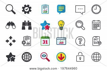 Magnifier glass and globe search icons. Fullscreen arrows and binocular search sign symbols. Chat, Report and Calendar signs. Stars, Statistics and Download icons. Question, Clock and Globe. Vector