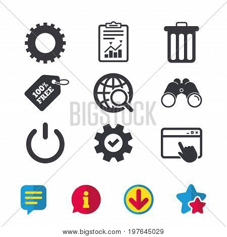 Globe magnifier glass and cogwheel gear icons. Recycle bin delete and power sign symbols. Browser window, Report and Service signs. Binoculars, Information and Download icons. Stars and Chat. Vector