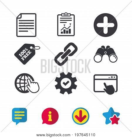 Plus add circle and hyperlink chain icons. Document file and globe with hand pointer sign symbols. Browser window, Report and Service signs. Binoculars, Information and Download icons. Stars and Chat