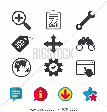Magnifier glass and globe search icons. Fullscreen arrows and wrench key repair sign symbols. Browser window, Report and Service signs. Binoculars, Information and Download icons. Stars and Chat