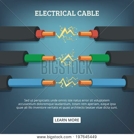 Poster with cartoon illustration of electrical cable wires with different amperage. Vector background concept connection electric power cable