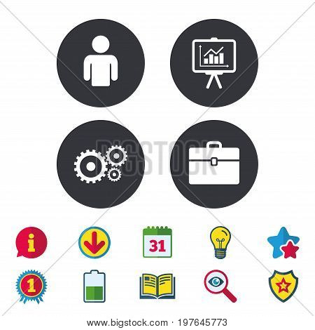 Business icons. Human silhouette and presentation board with charts signs. Case and gear symbols. Calendar, Information and Download signs. Stars, Award and Book icons. Light bulb, Shield and Search