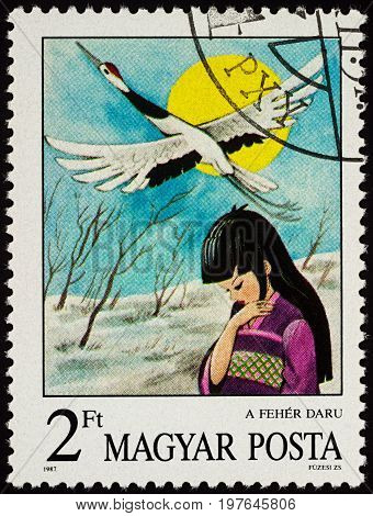 Moscow Russia - July 30 2017: A stamp printed in Hungary shows scene from the Japanese fairy tale