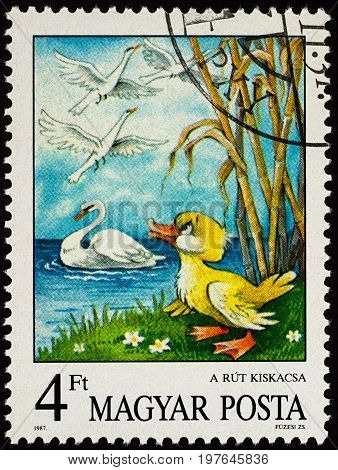 Moscow Russia - July 30 2017: A stamp printed in Hungary shows scene from a fairy tale