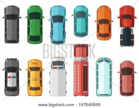 Pictures of transportation top view. Cars isolated on white background. Vector city models automobile transport, illustration of car sedan collection