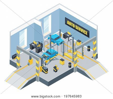 Interior of auto service with different tools and cars. Vector isometric illustration. Auto service for vehicle car, automobile repair