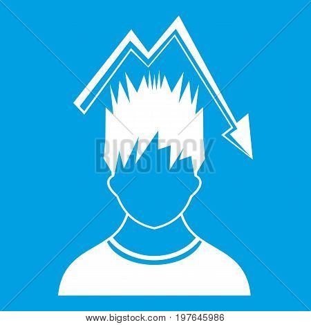 Man with falling red graph over head icon white isolated on blue background vector illustration