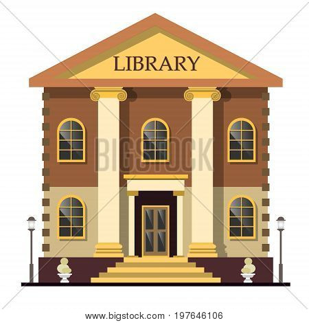 Library exterior outdoor view. Library isolated vector illustration