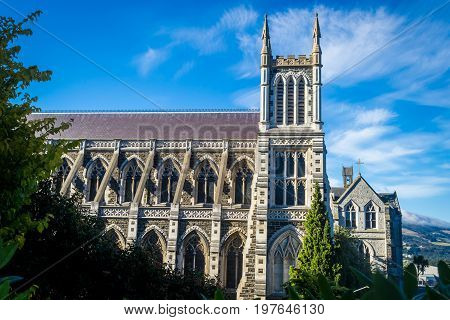 Side view photo of St. Joseph's Cathedral Dunedin New Zealand