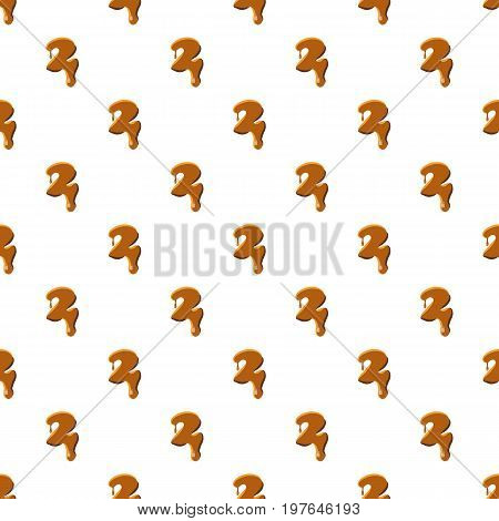 Number 2 from caramel pattern seamless repeat in cartoon style vector illustration
