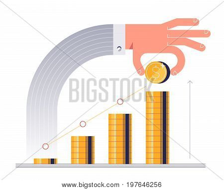 Male hand stacks up golden coins. Concept of personal investments and savings. Vector illustration
