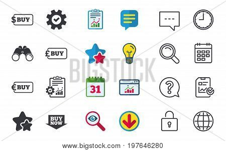 Buy now arrow icon. Online shopping signs. Dollar, euro and pound money currency symbols. Chat, Report and Calendar signs. Stars, Statistics and Download icons. Question, Clock and Globe. Vector