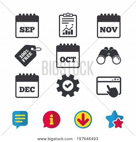 Calendar icons. September, November, October and December month symbols. Date or event reminder sign. Browser window, Report and Service signs. Binoculars, Information and Download icons. Vector