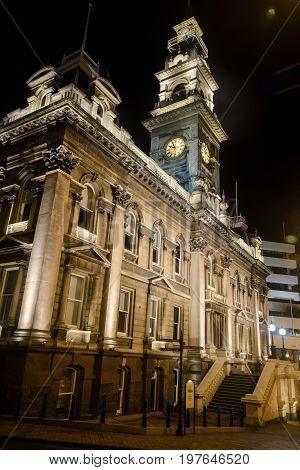 Dunedin Town Hall at night Dunedin New Zealand
