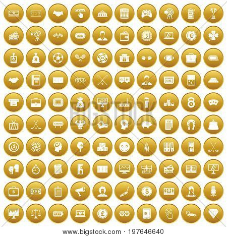 100 sweepstakes icons set in gold circle isolated on white vectr illustration