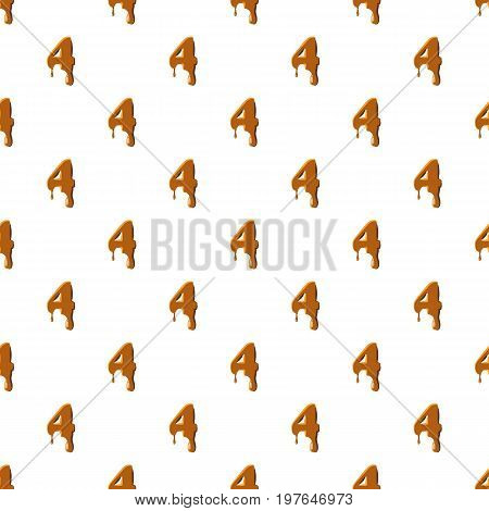 Number 4 from caramel pattern seamless repeat in cartoon style vector illustration