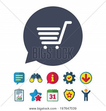 Shopping Cart sign icon. Online buying button. Information, Report and Speech bubble signs. Binoculars, Service and Download, Stars icons. Vector