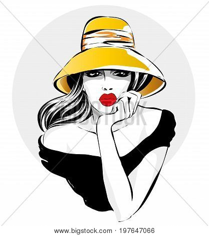 Retro Black And White Fashion Woman Portrat, Beautiful Girl Yellow Hat, Red Lips, Looks Bored, Hand