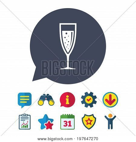 Glass of champagne sign icon. Sparkling wine with bubbles. Celebration or banquet alcohol drink symbol. Information, Report and Speech bubble signs. Binoculars, Service and Download, Stars icons
