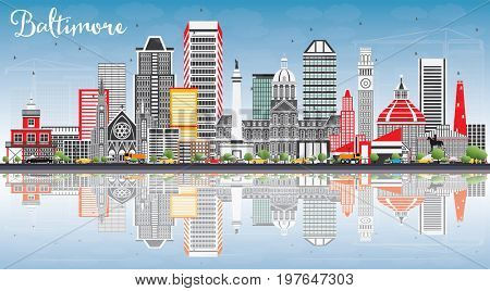 Baltimore Skyline with Gray Buildings, Blue Sky and Reflections. Business Travel and Tourism Concept with Modern Architecture. Image for Presentation Banner Placard and Web Site.