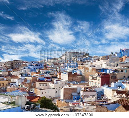 Panorama of famous Chefchaouen blue Medina in Morocco, Africa. Chefchaouen or Chaouen is a city in northwest Morocco.