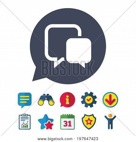 Chat sign icon. Speech bubble symbol. Communication chat bubble. Information, Report and Speech bubble signs. Binoculars, Service and Download, Stars icons. Vector
