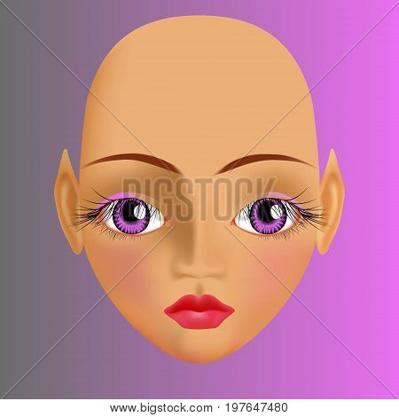 Sunburnt Elf With Big Violet Eyes With Long Dark Eyelashes And Plump Pink Lips. Calm Expression.