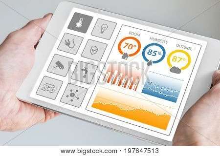 Smart home automation dashboard to control smart devices and sensors in the house or apartment. Hand holding modern tablet.