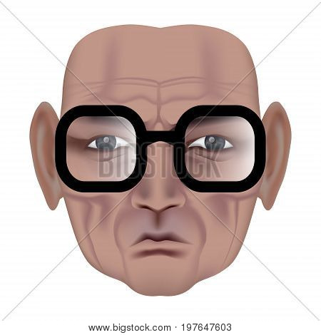 The Face Of Old Man With Deep Wrinkles. Frown Expression. Wise Old Man In Black Glasses. Made By Gra