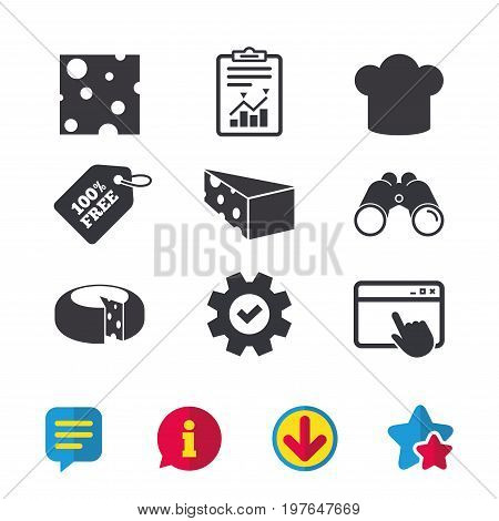 Cheese icons. Round cheese wheel sign. Sliced food with chief hat symbols. Browser window, Report and Service signs. Binoculars, Information and Download icons. Stars and Chat. Vector