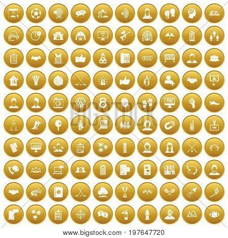 100 team icons set in gold circle isolated on white vectr illustration