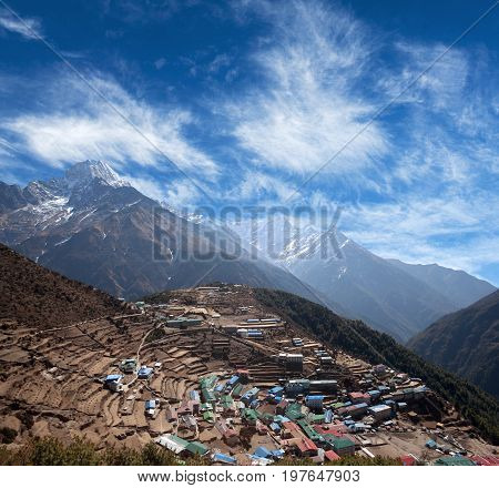Namche Bazaar view from above in Sagarmatha National park, Nepal, Himalayas. Namche Bazaar is a capital of Sherpas - Village Development Committee Namche in Solukhumbu District of North-Eastern Nepal