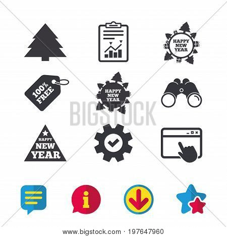 Happy new year icon. Christmas trees signs. World globe symbol. Browser window, Report and Service signs. Binoculars, Information and Download icons. Stars and Chat. Vector