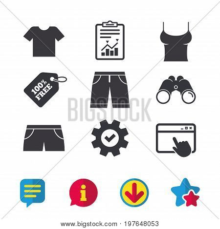 Clothes icons. T-shirt and bermuda shorts signs. Swimming trunks symbol. Browser window, Report and Service signs. Binoculars, Information and Download icons. Stars and Chat. Vector