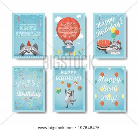 Happy birthday raccoon. Set of funny gift cards with raccoon.