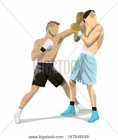 Isolated box fighting on white background. Two men in boxing gloves and uniform.